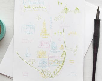 Charleston, South Carolina Illustrated Map Art Print
