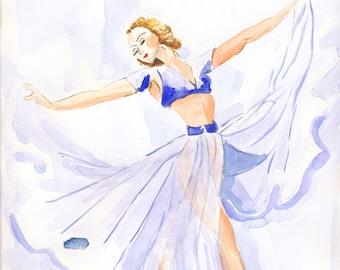 ballerina art artwork painting watercolor drawing fine art poster wall art print original ballerina art ballerina room decor