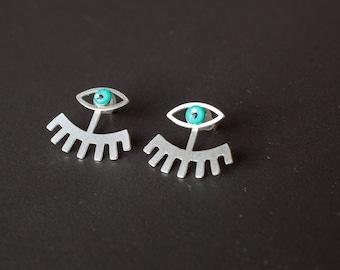 Ear jacket earrings with enamel, wife gift for women, girlfriend gift, sterling silver earrings, double sided earrings, front back earrings