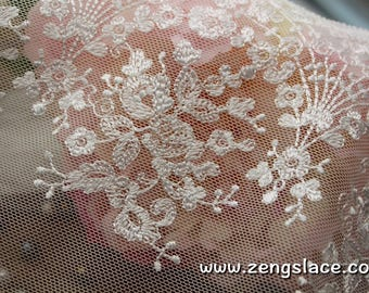 Ivory mesh lace trim with floral embroidery, bridal lace, French lingerie lace, floral lace fabric, couture trim, lace by the yard. ee-12-01