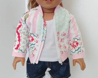 """18 inch doll clothes. Fits like American girl doll clothes. 18"""" doll clothing. Doll aviator jacket"""