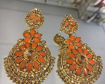 Indian style orange and antique gold earrings