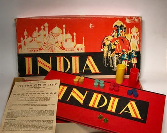 Vintage India Board Game 1940 Parker Brothers Deco Almost Complete Instructions Game Board Box