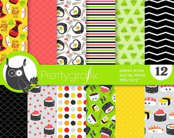 80% OFF SALE Sushi digital paper, commercial use,  scrapbook papers, background chevron, stripes - PS857