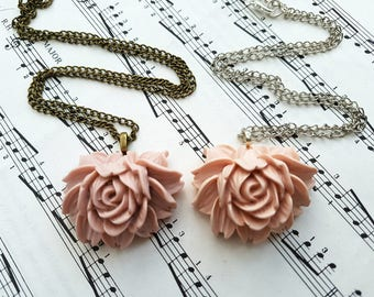 Cabbage rose necklace, pale dusky pink, vintage inspired style
