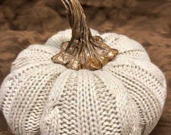Handmade Cable Knitted Pumpkin with Real Pumpkin Stem