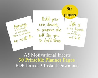 Printable A5 planner 30 quotes Motivational quotes planner pages printable organizer daily motivation planner inspiration A5 Planner inserts