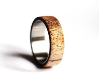 Titanium Mens Band, Olive Wood Wedding Ring, Natural Wood Mens Ring, Stainless Steel Ring