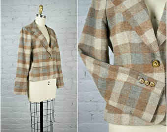 vintage short wool jacket . 1980s brown plaid fitted blazer . small