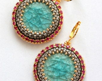 Bead Embroidered Earrings - Turquoise Porcelain