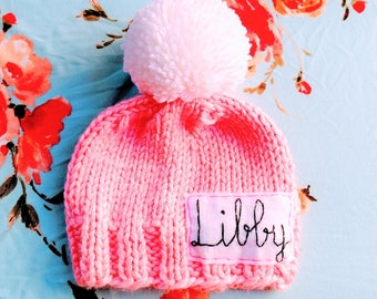 Chunky Personalized and CUSTOMIZED  Pink Hat withKursiv or print Name of your choice, Baby to Adult Hats with Name, pink name hat