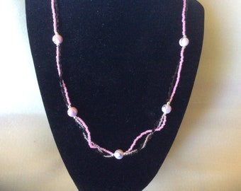 Pink black and silver necklace