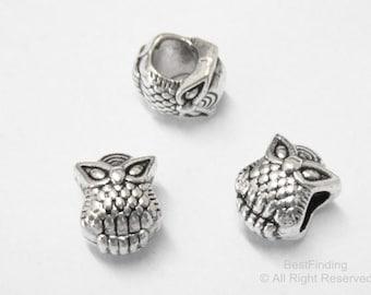 20pcs Owl beads Big Hole beads findings Wrap bracelet sliders