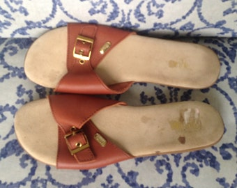 Vintage Bass Wejuns Rust Colored Leather Slide Sandals 9 1/2 Narrow