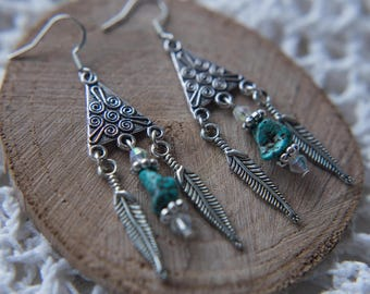 Boho Feathered Turquoise Earrings Silver Dangly