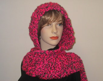 Neon Pink and Gray Long Scarf with Hood, Hoodie Scarves, Womans Hooded Scarf, Gift for Woman, Hooded Scarves, Elizabeth B4-048