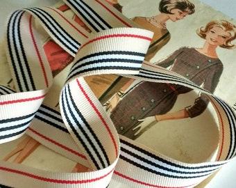 "Tan, Black, White and Red Grosgrain Grosgrain Ribbon, Classic Striped Grosgrain Ribbon 7/8"" inch"