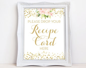 Drop Your Recipe Card Here Sign - INSTANT DOWNLOAD - Recipe Card Drop Off Sign - Shower Recipe Sign - Blush and Gold Downloadable The Chloe