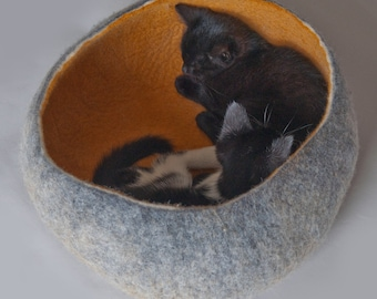 Pet / Dog / Cat Bed / Cave / House / Vessel / Cocoon - Hand Felted Wool - Grey Mustard Ombre  - Crisp Contemporary Modern Design