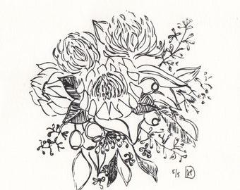 Original Screenprint Protea and Gum Bouquet - Edition of 5