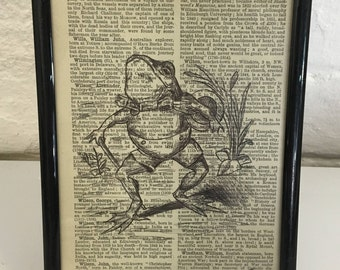 Toad pen drawing on vintage dictionary paper. Framed. By Jo Chastney.