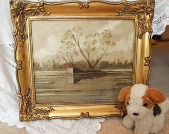 Original oil painting Vintage oil painting Landscape oil painting Ornate gilt frame oil painting Framed original painting River oil painting