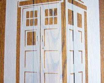 DOCTOR WHO TARDIS Police Box Stencil Mask Reusable Polypropylene Sheet for Arts & Crafts