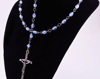 Rosary, Light Blue Fiber Optic Cats Eye Beads, Acrylic, Religious, Spiritual, Silver Tone Metal, Catholic, Prayer, Necklace