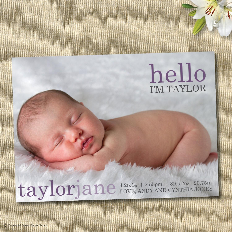 Baby Girl Birth Announcement Custom Photo Card Hello - Girl birth announcements