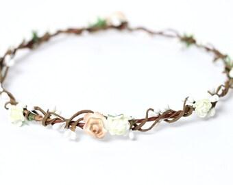Flower Crown Ivory Blush, Flower Headpiece, Flower Crown, Bridal Crown, Floral Hair Wreath, Rustic Wedding Flower Crown, Flower Headband
