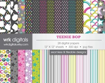 Teenie Bop Seamless Digital Paper Pack, Digital Scrapbooking, Instant Download, Hearts, Stars, Talk Bubbles