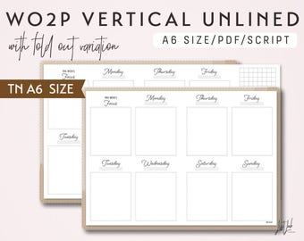 A6 TN Week on 2 Pages Vertical with Fold Out Variation WO2P - Printable Traveler's Notebook Insert - Script Theme
