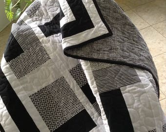 "Black & White Blocks - Lap Quilt - Modern  56"" x 73"" - Contemporary/Modern - Ready to Ship"