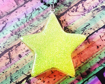 Kawaii star necklace - cute star necklace, resin glitter pendant, neon necklace, celestial necklace