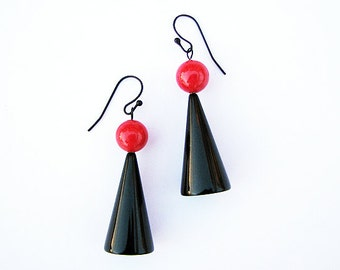 Fun Earrings - black, red