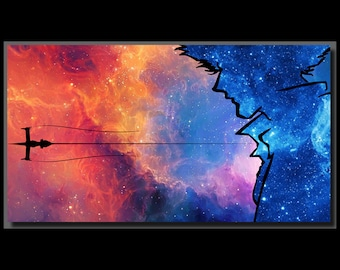 Anime Manga Cowboy Bebop Spike Spiegel Inspired Design Wall Art Gift - High Quality Print on Poly-Matte Canvas 14inch x 8inch x 18mm