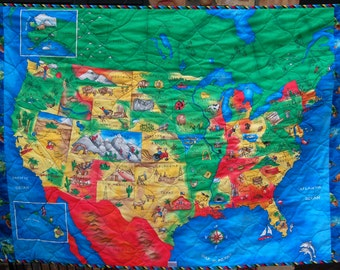 World map quilt etsy kids quilt with us map and world map on reverse gumiabroncs Image collections