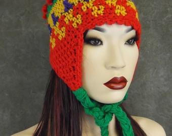 Chullo- style Earflap Hat, Crochet, Freeform,Winter hat,Accessory,Winter,Women,Red,Green,Purple,Yellow,OOAK,