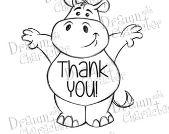Cute Hippo Thank You Digital Stamp/ KopyKake Image- DS11-HIPTY