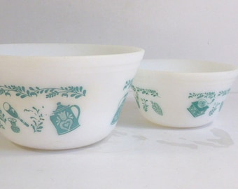 Vintage Federal Homestead Pattern Mixing Bowls, Blue and White, Set of 2