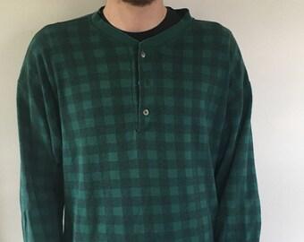 80s Edie Bauer Plaid Henley Shirt