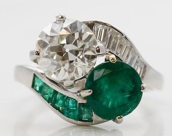 Art Deco Antique Emerald and Diamond Ring