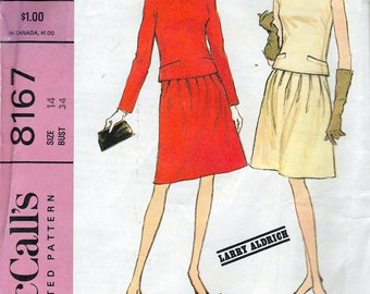 Vintage 1965 McCall's 8167 Larry Aldrich New York Designers Collection Plus 1 Two-Piece Dress in Two Versions Sewing Pattern Size 14
