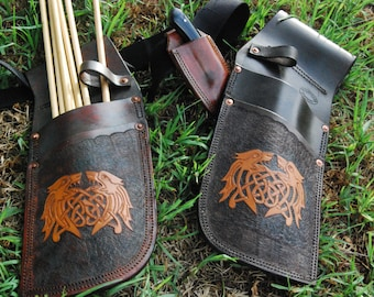 Heavy duty side quiver. Handmade and carved. Double stitched and heavy duty copper riveted.