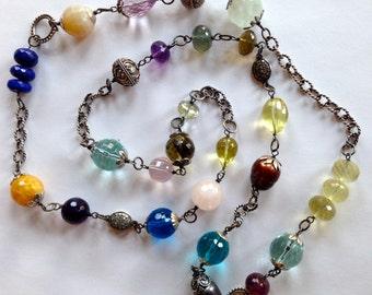 Multi Gemstone Diamond Connector Statement Necklace Amethyst, Aquamarine, Lapis, Whiskey Quartz, Oxidized Sterling Silver Wire Wrapped