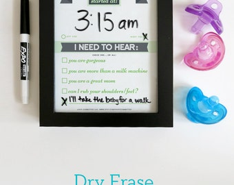 Dry Erase Newborn Feeding Tracker. Baby Shower Gift. GREEN Dry Erase Baby Chart. Baby Feeding Last Feeding Tracker.