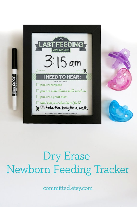 Dry Erase Newborn Feeding Tracker Baby Shower Gift Green Dry