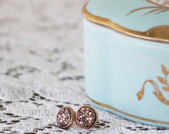Druzy Stud Earrings - Rose Gold Druzy Earrings - Elegant Earrings for Mom - Tiny Druzy Stud Earrings - Girlfriend Studs - Druzy Earrings