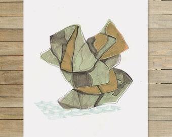 Rock Abstraction je |  9 x 12 pouces art imprimé par Jaime Hernandez | art rupestre minéral