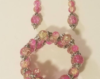 Pink and Clear Handmade Wrapped Bracelet and Earring Set